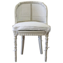 French Country Cane Back Vanity Chair