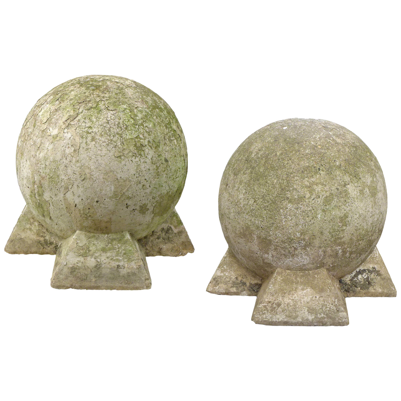 Pair of Sculptural Cast Stone Spheres
