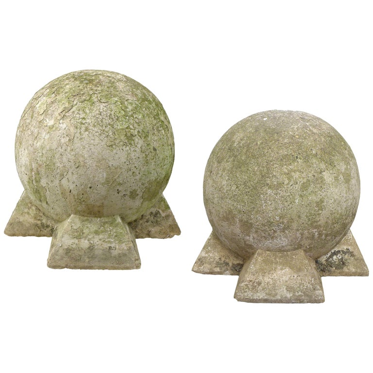 Pair of Sculptural Cast Stone Spheres For Sale