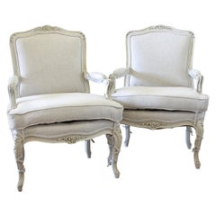 Pair of Painted and Upholstered Louis XVI Style Bergère Chairs in Natural Linen