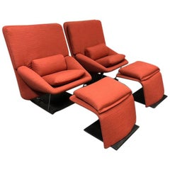Vittorio Introini Reclining Lounge Chairs and Ottomans for Saporiti Italia, Pair