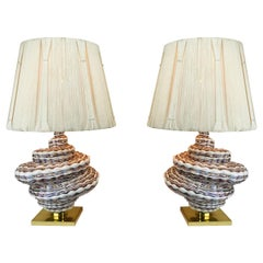 Pair of Glass Spiral Table Lamps with Shades