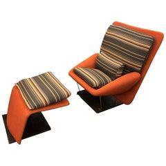 Saporiti Italia Vittorio Introini Reclining Lounge Chair and Ottoman