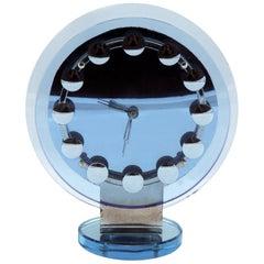 Rare Modernist Art Deco Blue Mirror Clock