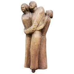 Folk Art Wood Carved Sculpture of 3 Embracing Figures