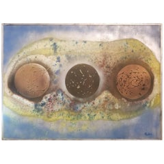 Mid-Century Modern Abstract Painting with Spheres