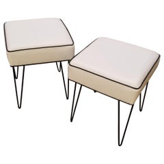 1960s Iron Hairpin Stools New Upholstery a Pair