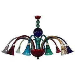 Large Simone Cenedese 12-Arm Chandelier, Multi-Color Memphis Style