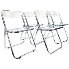 Midcentury Italian Modern Lucite and Chrome, Set of 4