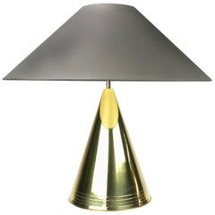 1980s Conical Brass Table Lamp