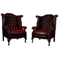 Pair Of Chesterfield Queen Anne Wing Back Chairs