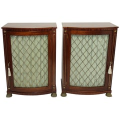 Pair English Regency Mahogany Side Cabinets with Brass Mounts, circa 1820