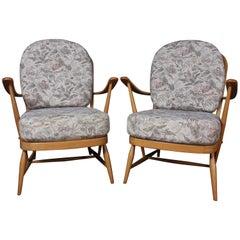 Vintage Midcentury Blonde Ercol 203 Armchairs, 2