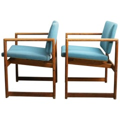 Set of 4 1960s Danish Midcentury Oak Framed Occasional / Dining Chairs
