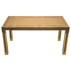 Midcentury Brass and Bamboo Dining Table Style of Gabriella Crespi, 1970s