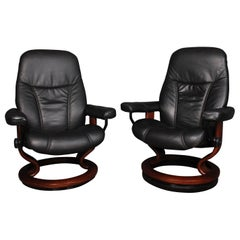 Two Ekornes Stressless Diplomat Black Leather Chairs