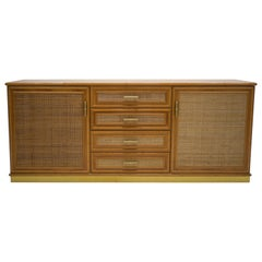 French Midcentury Brass and Bamboo Sideboard, 1970s