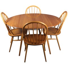 Ercol Drop-Leaf Oval Dining Table and Four Chairs Lucian Ercolani