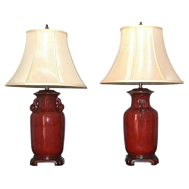 Chinese Sang de Boeuf Table Lamps