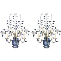 Pair of Silver Plated Sconces with Lapis Lazuli