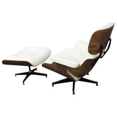 Vintage 2 Eames Style Lounge Chairs White Leather