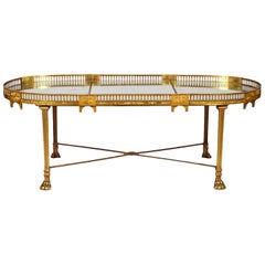 19th Century French Empire Gilt Bronze Three Part Mirrored Plateau Sofa Table