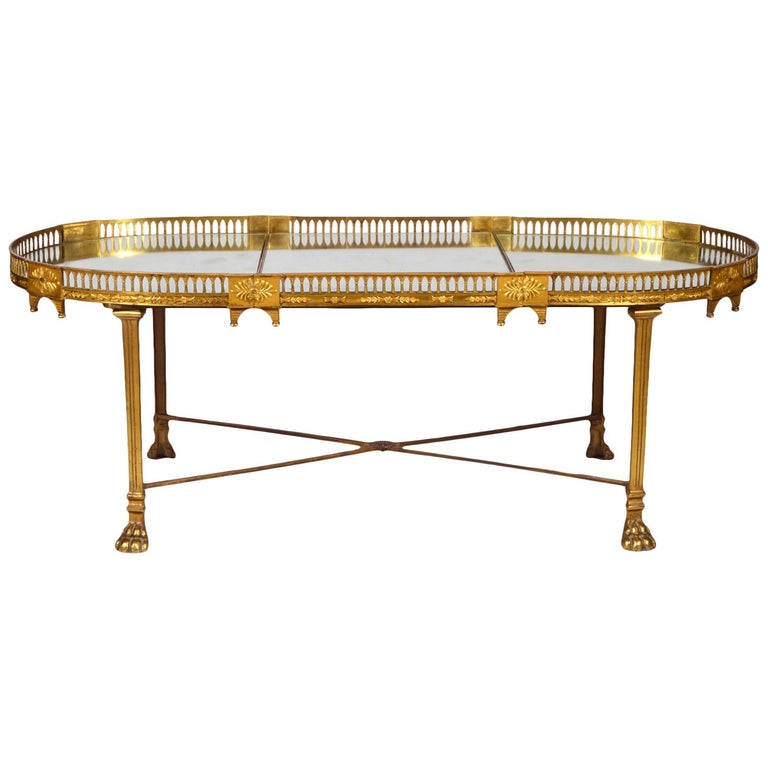 19th Century French Empire Gilt Bronze Three Part Mirrored Plateau Sofa Table For Sale