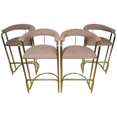Four Midcentury Brass Stools