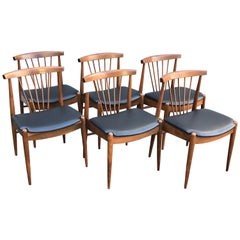 Set of Six Midcentury Walnut Spindle Back Dining Chairs with Black Vinyl Seats