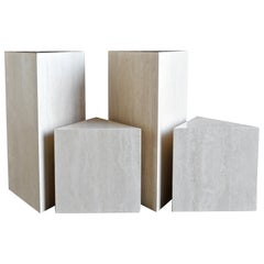Set of Four Italian Travertine Pedestals, circa 1980