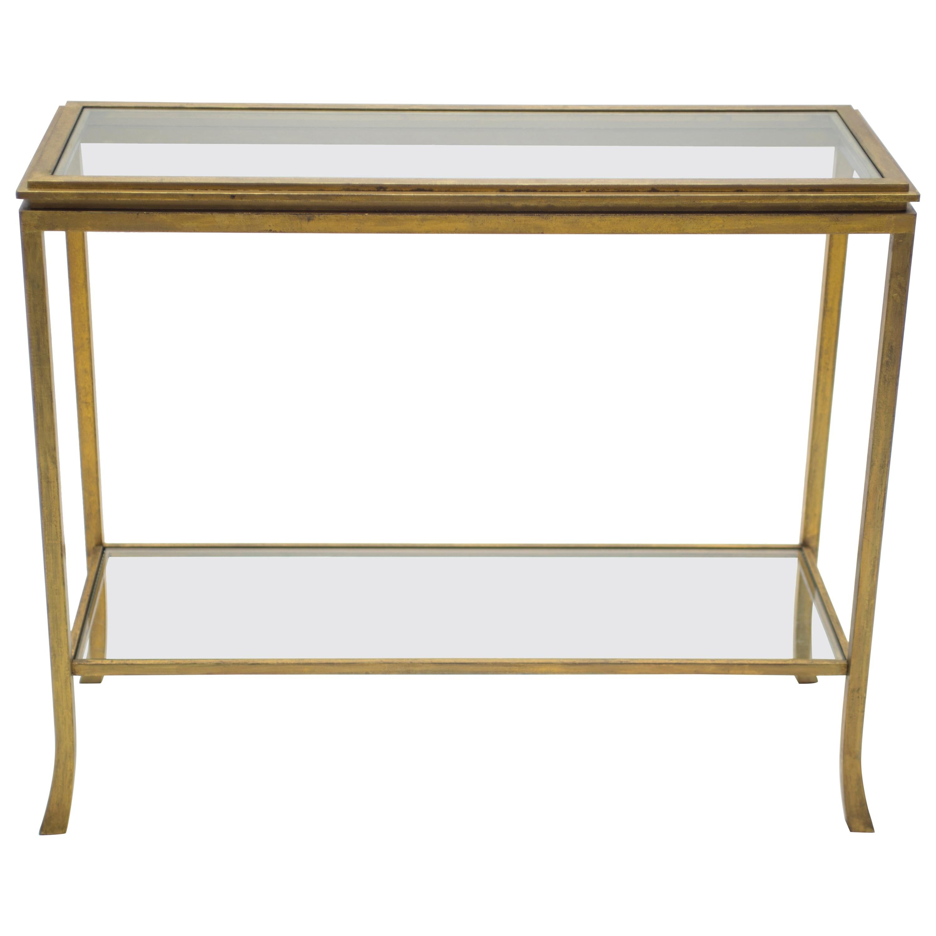 Rare Midcentury Robert Thibier Gilt Wrought Iron Gold Leaf Console Table,  1960s