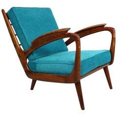 Armchair Easychair 1950s Solid Walnut from De Ster Gelderland, Netherlands