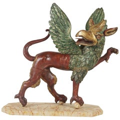 Italian Baroque Style Carved, Painted and Gilded Wood Figure of a Griffon