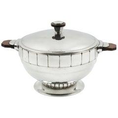 H.J. Pewter Geneve Art Deco Modernist Tureen Covered Dish Centerpiece