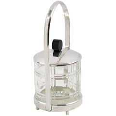 French Art Deco Silver Plate Jelly or Pickles Condiment Jar with Crystal Insert