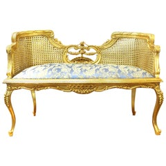 Louis XV Style Upholstered Bench with Caned Back