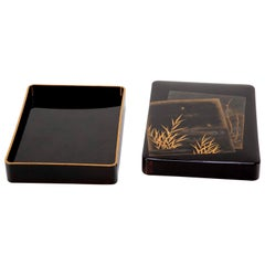 Black and Gold Lacquer Japanese Suzuribako Box