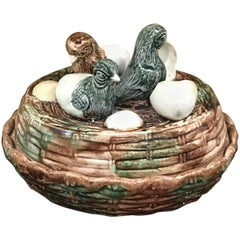English Majolica Game Dish, Hatchlings on Nest