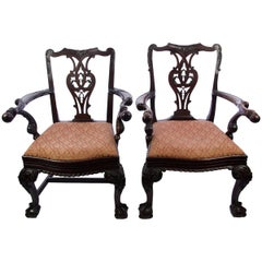 Pair of Irish Mahogany Chippendale Style Chairs