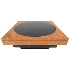 Vintage Modern Burl, Brass, and Glass Coffee Table by Lane