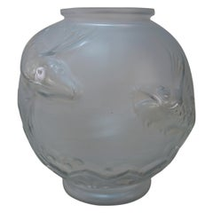 Art Deco Vase Swimming Koi Fish by Verreries D'art Lorraine, French, 1920s
