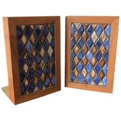 Gordon Martz Ceramic Diamond Pattern Ceramic Bookends