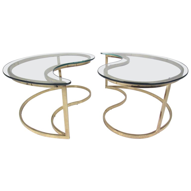 Pair of Modern Kidney Shaped End Tables For Sale