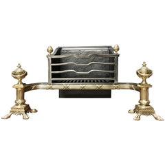 Large 19th Century Antique Victorian Brass & Cast Iron Fireplace Grate Basket
