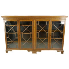 Antique Walnut Bookcase, Display Cabinet, Walnut, Scotland, 1910, Antiques