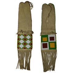 Fine Pair of Old Native American Indian Sarcee (Tsuut'ina) Beaded Pipe Bags