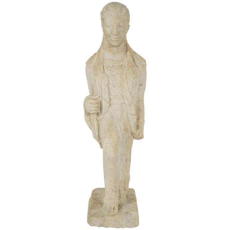 Greek Archaistic Style Carved Marble Figure 1