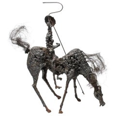 Midcentury Brutalist Don Quixote on Horse Sculpture