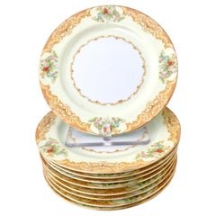 Japanese Hand Painted Dessert Plates Set of Nine by Noritake, 1930s