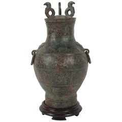 Chinese Zhou Dynasty Style Bronze Hue Inlaid with Gold  & Silver Wire